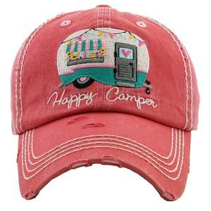 Happy Camper Pink Salmon Distressed Baseball Hat